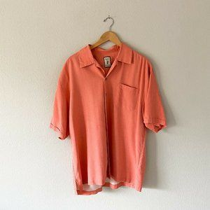 Jamaica Jaxx 100% Silk Pink Salmon Button Up